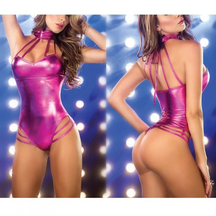 Sexy Temptation Hanging Neck Imitation Leather One-Piece Sexy Underwear for Women - Deep PinkSexy Lingerie<br>Form  ColorDeep PinkSizeFree SizeQuantity1 setShade Of ColorPinkMaterialPolyesterStyleUltra SexyShoulder Width34 cmChest Girth95 cmTotal Length65 cmPacking List1 x Sexy lingerie<br>