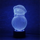 3D Christmas Fat Round Snowman Parttern 7-Color Charging LED Night Light Lamp for Kids Gift