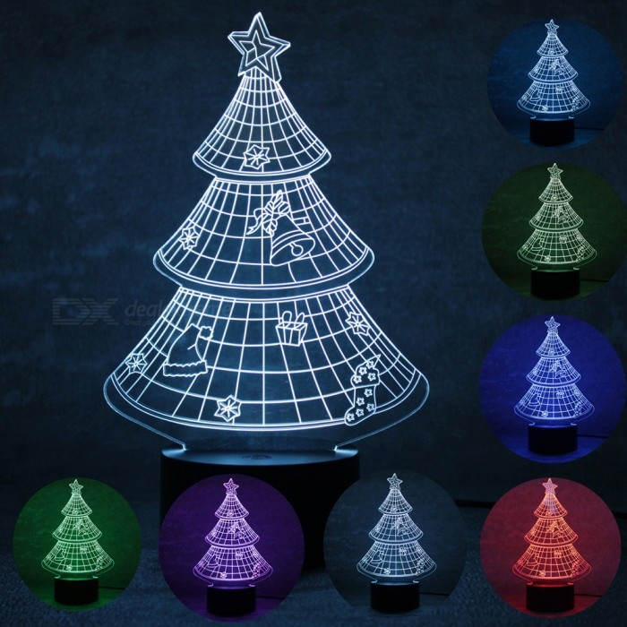 3D Christmas Tree Parttern 7-Color Charging LED Night Light LampLED Nightlights<br>Form  ColorBlack + TransparentModelBRM-2729MaterialPlasticQuantity1 DX.PCM.Model.AttributeModel.UnitPowerOthers,1.5WRated VoltageOthers,5 DX.PCM.Model.AttributeModel.UnitColor BINMulti-colorChip BrandOthers,ling tongChip Typeling tongEmitter TypeLEDTotal Emitters8DimmableYesBeam Angle180 DX.PCM.Model.AttributeModel.UnitInstallation TypeInsertedPacking List1 x Parttern board1 x Light base1 x USB cable1 x User manual<br>