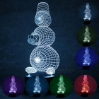 3D Christmas Snowman Parttern 7-Color Charging LED Night Light Lamp for Kids Gift