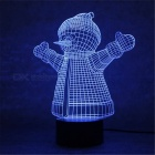 3D Christmas Hugging Snowman Parttern 7-Color Charging LED Night Light Lamp for Kids Gift