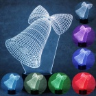 3D Christmas Bells Parttern 7-Color Charging LED Night Light Lamp for Kids Gift