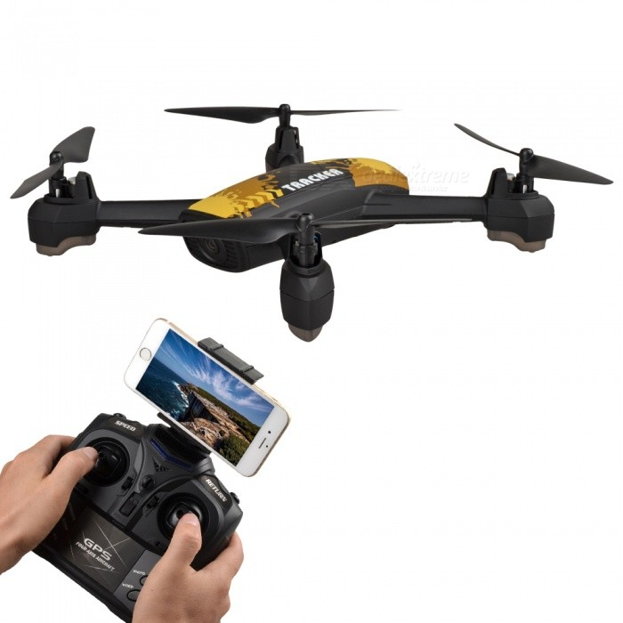 JXD 518 RC Helicopter 2.4GHz 6-Axis Gyro Wi-Fi FPV Quadcopter Drone with 2.0MP HD Camera / GPS - Yellow