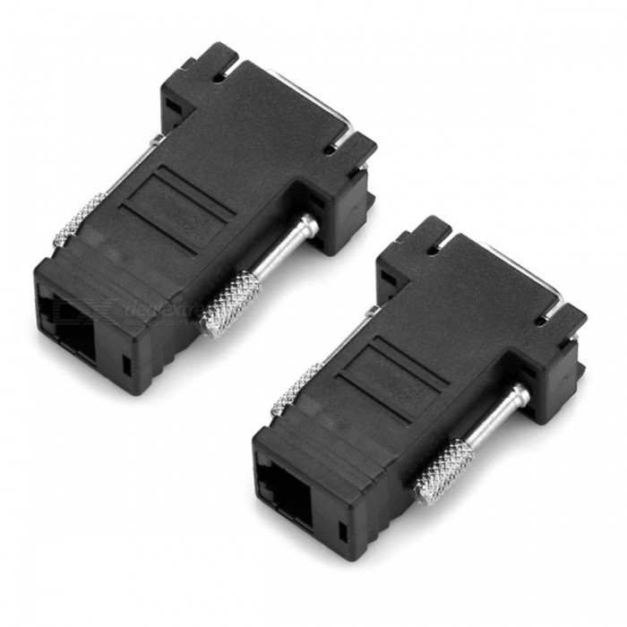VGA Male to RJ45 Female Adapter Coupler Connector (2 PCS)