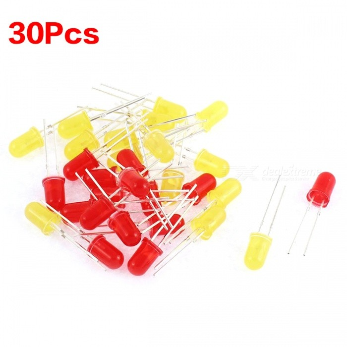 ZHAOYAO 60Pcs 5mm Red Yellow LED Light-emitting Diode Beads Bulbs LampDIY Parts &amp; Components<br>Form  ColorRed + Yellow + Multi-ColoredQuantity1 setMaterialMetal, PlasticEnglish Manual / SpecNoCertificationN/APacking List30 x Red Emitting Diode30 x Yellow Emitting Diode<br>