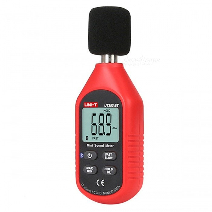UNI-T UT353BT Bluetooth Edition Mini Noise Meter - Red + BlackOther Measuring &amp; Analysing Instruments<br>Form  ColorRed + BlackModelUT353BTQuantity1 pieceMaterialABSScreen Size34*27 mmPowered ByAAA BatteryBattery Number3Battery included or notYesCertificationCEPacking List1 x Manual1 x Noise Meter<br>