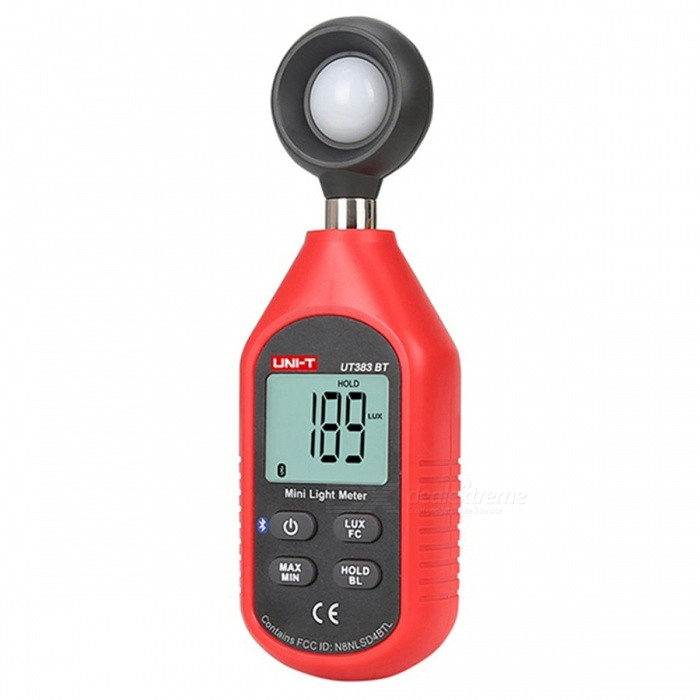 UNI-T UT383BT Bluetooth Edition Mini Illuminance Meter - Red + BlackOther Measuring &amp; Analysing Instruments<br>Form  ColorRed + BlackModelUT383BTQuantity1 DX.PCM.Model.AttributeModel.UnitMaterialABSScreen Size34*27 DX.PCM.Model.AttributeModel.UnitPowered ByAAA BatteryBattery Number3Battery included or notYesCertificationCEPacking List1 x Manual1 x Illuminance Meter<br>