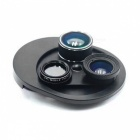 OJADE 4-In-1 Phone Camera Lens Kit, Clip-On 198 Degree Fisheye Lens + 0.63X Wide Angle + 15X Macro Lens