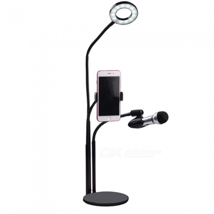 OJADE Lazy Desktop Multi Camera Mobile Phone Support, Shooting Shelf with Lamp for Live Broadcast