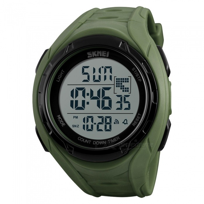 SKMEI 1313 Mens 50M Waterproof Digital Dual Time Sports Watch with EL Light - Army GreenSport Watches<br>Form  ColorArmy GreenModel1313Quantity1 DX.PCM.Model.AttributeModel.UnitShade Of ColorGreenCasing MaterialABSWristband MaterialPUSuitable forAdultsGenderMenStyleWrist WatchTypeSports watchesDisplayDigitalBacklightGreen lightMovementDigitalDisplay Format12/24 hour time formatWater ResistantWater Resistant 5 ATM or 50 m. Suitable for swimming, white water rafting, non-snorkeling water related work, and fishing.Dial Diameter4.7 DX.PCM.Model.AttributeModel.UnitDial Thickness1.5 DX.PCM.Model.AttributeModel.UnitWristband Length240 DX.PCM.Model.AttributeModel.UnitBand Width2.2 DX.PCM.Model.AttributeModel.UnitBattery1 x CR2025Packing List1 x Watch<br>