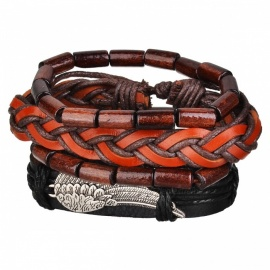Multilayer Retro Woven PU Leather Alloy Wing Style Bracelet Wristband - Black + Brown