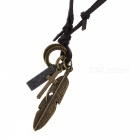Retro Cool Feather Cross Style PU Leather Necklace - Bronze