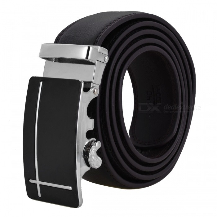 Cross-Shaped Style Leather Belt with Automatic Buckle for Men - Brown + SilverBelts and Buckles<br>Form  ColorBrown + Silver + Multi-ColoredQuantity1 setShade Of ColorBrownMaterialLeatherGenderMenSuitable forAdultsBelt Length120 cmBelt Width3.5 cmPacking List1 x Belt<br>