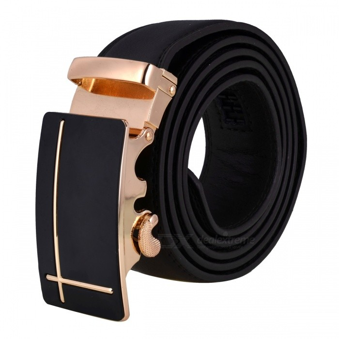 Cross-Shaped Style Leather Belt with Automatic Buckle for Men - Black + GoldenBelts and Buckles<br>Form  ColorBlack + Golden + Multi-ColoredQuantity1 DX.PCM.Model.AttributeModel.UnitShade Of ColorBlackMaterialLeatherGenderMenSuitable forAdultsBelt Length120 DX.PCM.Model.AttributeModel.UnitBelt Width3.5 DX.PCM.Model.AttributeModel.UnitPacking List1 x Belt<br>