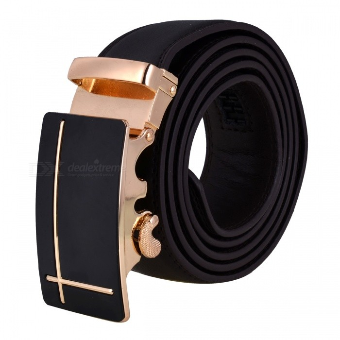 Cross-Shaped Style Leather Belt with Automatic Buckle for Men - Brown + GoldenBelts and Buckles<br>Form  ColorBrown + Golden + Multi-ColoredQuantity1 DX.PCM.Model.AttributeModel.UnitShade Of ColorBrownMaterialLeatherGenderMenSuitable forAdultsBelt Length120 DX.PCM.Model.AttributeModel.UnitBelt Width3.5 DX.PCM.Model.AttributeModel.UnitPacking List1 x Belt<br>