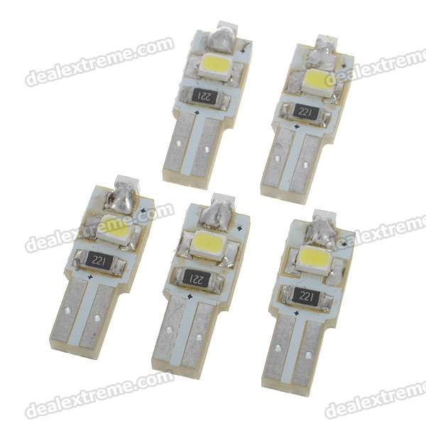 T5 0.2W 7K 18-Lumen 3x3020 SMD LED Car White Light Bulbs (5-Pack/DC12~17V)