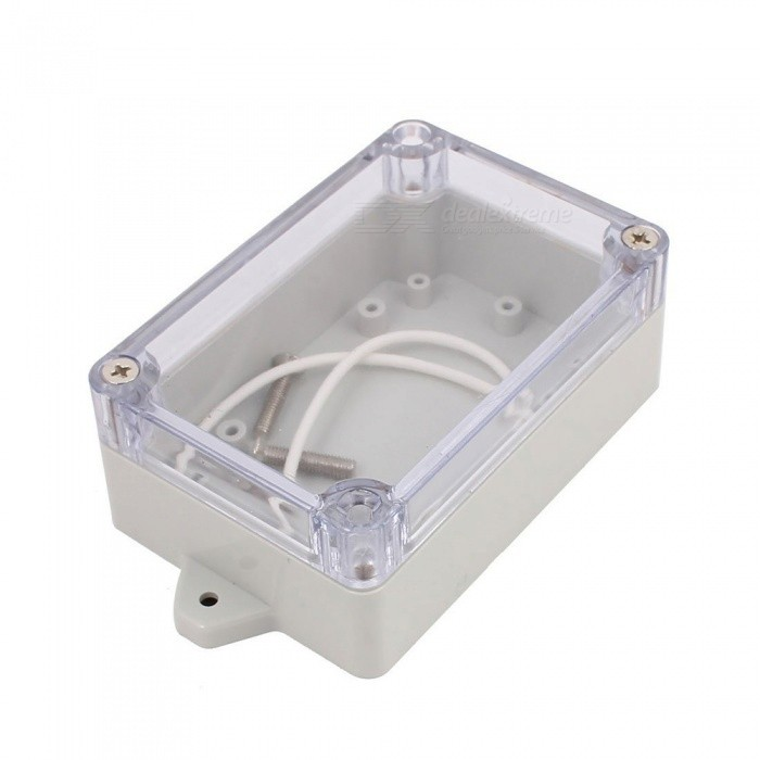 YENISEI 100x68x40mm Transparent Cover Dustproof IP65 Junction Terminal Box EnclosureDIY Parts &amp; Components<br>Form  ColorClear + GrayModel100x68x40mmQuantity1 DX.PCM.Model.AttributeModel.UnitMaterialSolid PVC PlasticChipsetNOEnglish Manual / SpecNoDownload Link   NOOther Features321CertificationNOPacking List1 x Junction Box4 x Screws<br>