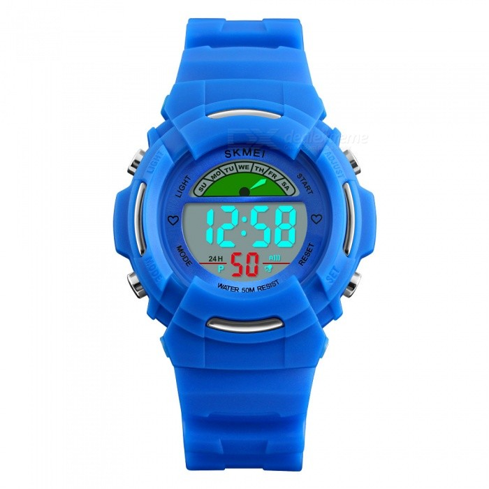 SKMEI 1272 Childrens Fashion 50M Waterproof Digital Wrist Watch with EL Light - BlueChildren Watches<br>Form  ColorBlueModel1272Quantity1 DX.PCM.Model.AttributeModel.UnitShade Of ColorBlueCasing MaterialABS and PUWristband MaterialPUSuitable forChildrenGenderUnisexStyleWrist WatchTypeFashion watchesDisplayDigitalBacklightGreen LightMovementDigitalDisplay Format12/24 hour time formatWater ResistantWater Resistant 5 ATM or 50 m. Suitable for swimming, white water rafting, non-snorkeling water related work, and fishing.Dial Diameter3.8 DX.PCM.Model.AttributeModel.UnitDial Thickness1.4 DX.PCM.Model.AttributeModel.UnitBand Width1.8 DX.PCM.Model.AttributeModel.UnitWristband Length23.5 DX.PCM.Model.AttributeModel.UnitBattery1 x CR2025Packing List1 x Watch<br>