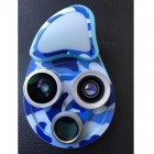 Universal 4 in-1 Mobile Phone Camera Lenses Kit with Fill-in Light - Camouflage Blue