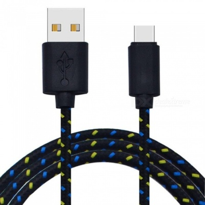 Cwxuan Nylon Woven USB 2.0 to USB 3.1 Type-C Sync Data Charging Cable - Black (180CM)