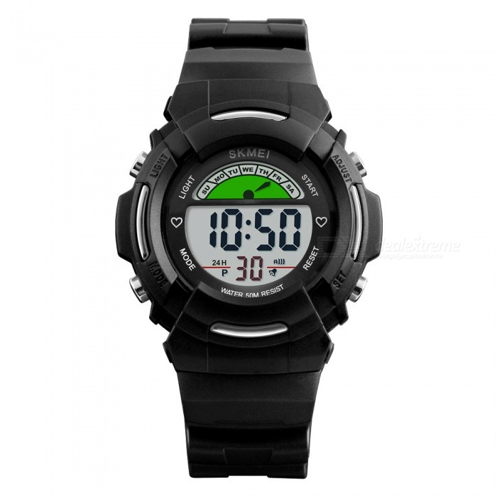 SKMEI 1272 Childrens Fashion 50M Waterproof Digital Wrist Watch with EL Light - BlackChildren Watches<br>Form  ColorBlackModel1272Quantity1 pieceShade Of ColorBlackCasing MaterialABS + PUWristband MaterialPUSuitable forChildrenGenderUnisexStyleWrist WatchTypeFashion watchesDisplayDigitalBacklightGreen LightMovementDigitalDisplay Format12/24 hour time formatWater ResistantWater Resistant 5 ATM or 50 m. Suitable for swimming, white water rafting, non-snorkeling water related work, and fishing.Dial Diameter3.8 cmDial Thickness1.4 cmBand Width1.8 cmWristband Length23.5 cmBattery1 x CR2025Packing List1 x Watch<br>