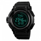SKMEI 1300 Men's 50m Waterproof Digital Sports Compass Watch with EL Light - Black