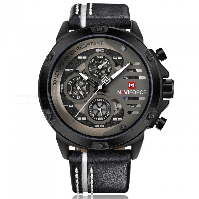 NAVIFORCE 9110 Mens Sports Army Leather Wrist Quartz Watch - Black, White (Without Gift Box)Sport Watches<br>Form  ColorBlack, White (Without Gift Box)ModelNF9110Quantity1 DX.PCM.Model.AttributeModel.UnitShade Of ColorBlackCasing MaterialStainless SteelWristband MaterialLeatherSuitable forAdultsGenderMenStyleWrist WatchTypeSports watchesDisplayAnalogMovementQuartzDisplay Format12 hour formatWater ResistantWater Resistant 3 ATM or 30 m. Suitable for everyday use. Splash/rain resistant. Not suitable for showering, bathing, swimming, snorkelling, water related work and fishing.Dial Diameter4.8 DX.PCM.Model.AttributeModel.UnitDial Thickness1.3 DX.PCM.Model.AttributeModel.UnitWristband Length24 DX.PCM.Model.AttributeModel.UnitBand Width2.4 DX.PCM.Model.AttributeModel.UnitBattery1 x Button batteryPacking List1 x Watch<br>