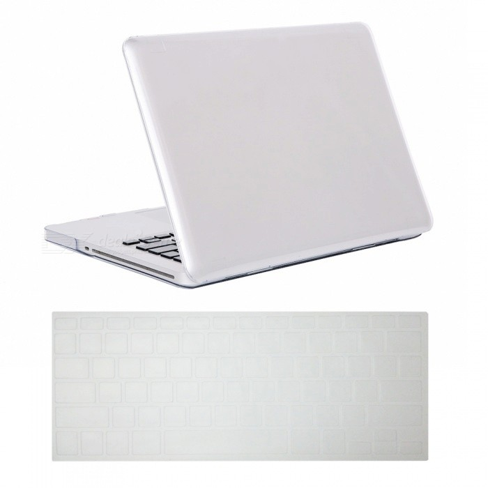 1e4dff78027 Dayspirit Ultra Slim Crystal Hard Case + Keyboard Cover for MacBook Pro  15.4 inch with CD-ROM (A1286) - White
