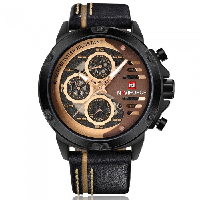 NAVIFORCE 9110 Mens Sports Army Leather Wrist Quartz Watch - Black, Golden (With Gift Box)Sport Watches<br>Form  ColorBlack, Golden (With Gift Box)ModelNF9110Quantity1 DX.PCM.Model.AttributeModel.UnitShade Of ColorBlackCasing MaterialStainless SteelWristband MaterialLeatherSuitable forAdultsGenderMenStyleWrist WatchTypeSports watchesDisplayAnalogMovementQuartzDisplay Format12 hour formatWater ResistantWater Resistant 3 ATM or 30 m. Suitable for everyday use. Splash/rain resistant. Not suitable for showering, bathing, swimming, snorkelling, water related work and fishing.Dial Diameter4.8 DX.PCM.Model.AttributeModel.UnitDial Thickness1.3 DX.PCM.Model.AttributeModel.UnitWristband Length24 DX.PCM.Model.AttributeModel.UnitBand Width2.4 DX.PCM.Model.AttributeModel.UnitBattery1 x Button batteryPacking List1 x Watch1 x Gift Box<br>