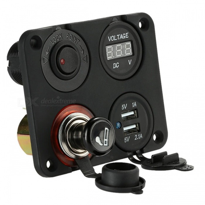 Four Hole Panel Base with Dual USB Port + Voltmeter + Cigarette Lighter + ON-OFF Button Switch for Car Truck Motorcycle Boat ATVCar Power Chargers<br>Form  ColorBlackModelN/AQuantity1 DX.PCM.Model.AttributeModel.UnitMaterialABSInput Voltage12 DX.PCM.Model.AttributeModel.UnitOutput Voltage5 DX.PCM.Model.AttributeModel.UnitOutput Current3.1 DX.PCM.Model.AttributeModel.UnitInterfaceUSBApplicationCar Truck Motorcycle Boat ATVPacking List1 x 4-in-1 Four Hole Switch Panel Base<br>