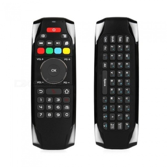 Portable 2.4G Wireless Air Mouse Keyboard Remote Control - BlackRemote Controllers<br>Form  ColorBlackMaterialPlastic + siliconeQuantity1 DX.PCM.Model.AttributeModel.UnitShade Of ColorBlackRemote Controller Battery TypeOthers,Built-in 200mAh lithium batteryControl Range10 DX.PCM.Model.AttributeModel.UnitPacking List1 x Air Mouse Keyboard Remote Control1 x USB Receiver1 x USB Charging Cable1 x English User Manual<br>