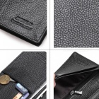 JIN BAO LAI Stylish Top Layer Cowhide Leather Men's Long Wallet Purse - Black