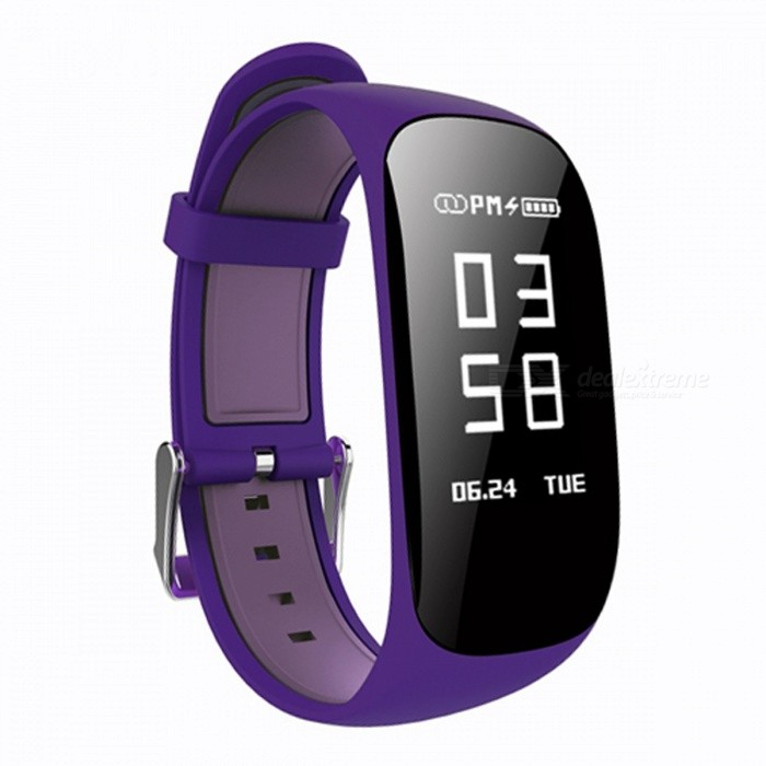 Z17 0.96 OLED Intelligent Bluetooth Wrist Watch Bracelet with Heart Rate Monitor, Pedometer - PurpleSmart Bracelets<br>Form  ColorPurple + Black + Multi-ColoredModelZ17Quantity1 DX.PCM.Model.AttributeModel.UnitMaterialABSShade Of ColorPurpleWater-proofIP67Bluetooth VersionBluetooth V4.0Touch Screen TypeYesCompatible OSIOS7.1 and above, Android4.4 and aboveBattery Capacity90 DX.PCM.Model.AttributeModel.UnitBattery TypeLi-polymer batteryStandby Time5-7 DX.PCM.Model.AttributeModel.UnitPacking List1 x Smart Watch1 x Charging Cable 1 x User Manual<br>