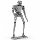 DIY Stereo Puzzle, 3D Stainless Steel Metal Star Wars K-2SO Robot Assembly Model Educational Toy - Silver