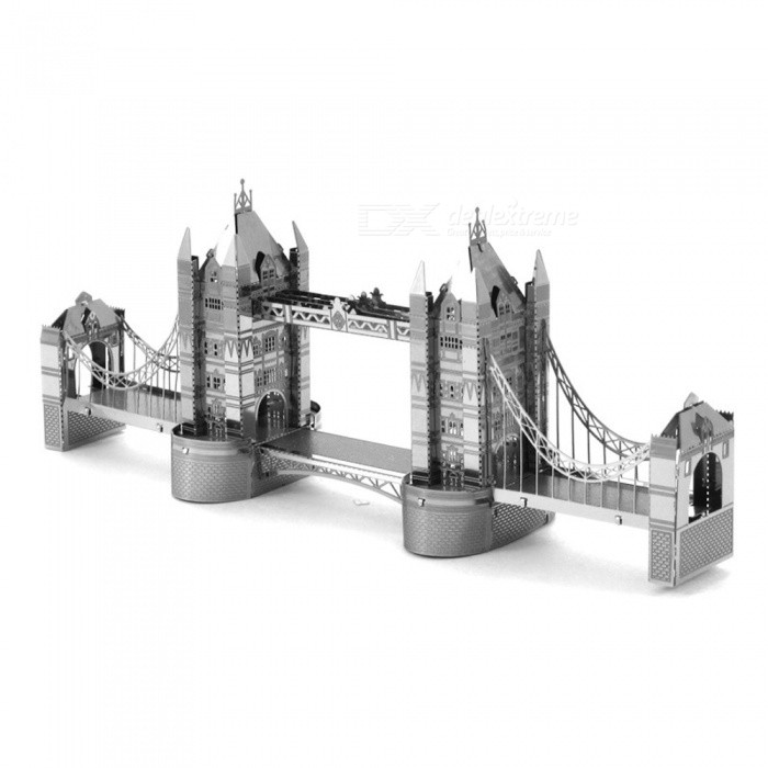 DIY Three-Dimensional Puzzle, 3D Stainless Steel Metal Building London Tower Bridge Assembly Model Educational Toy - Silver