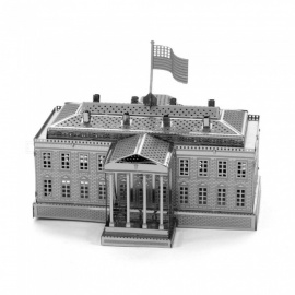 DIY Puzzle, 3D Stainless Steel Metal Famous Building White House Assembly Model Educational Toy - Silver