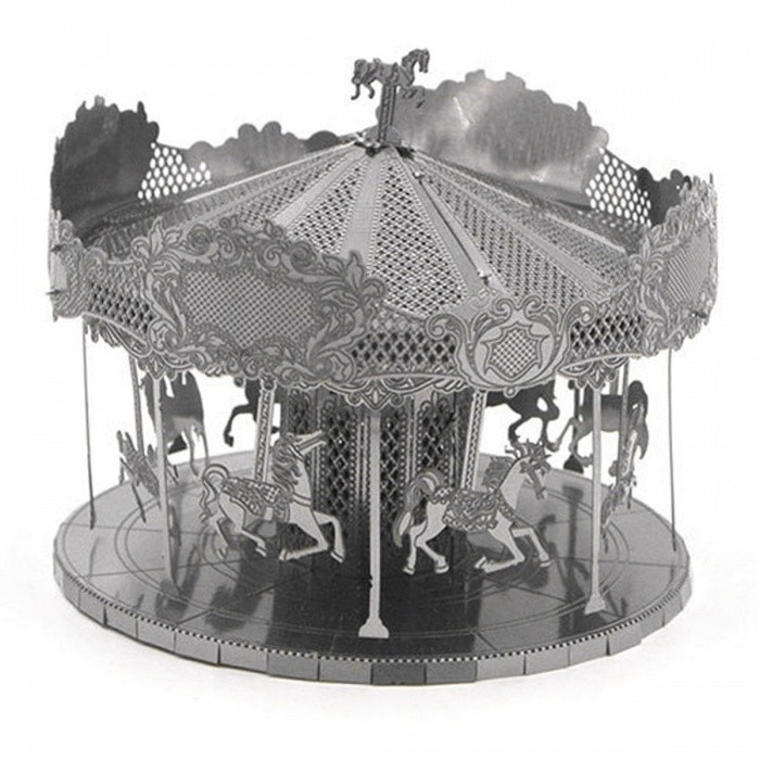 DIY Jigsaw Puzzle, 3D Stainless Steel Metal Playground Carousel Assembly Model Educational Toy - SilverBlocks &amp; Jigsaw Toys<br>Form  ColorSilverMaterialStainless steelQuantity1 DX.PCM.Model.AttributeModel.UnitNumber2Size6.35cm*6.35cm*5.08cmSuitable Age 8-11 years,12-15 years,Grown upsPacking List2 x Model boards<br>