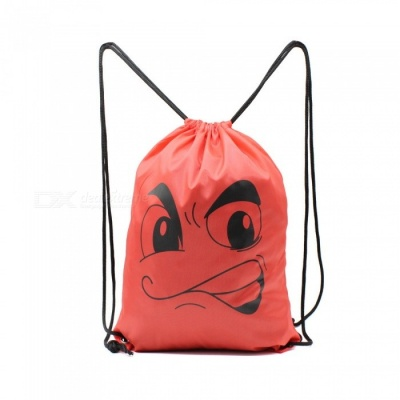 Sunfield Polyester Silk Printing Angry Face Pattern Waterproof Simple Rope Bag Backpack for Outdoors - Red