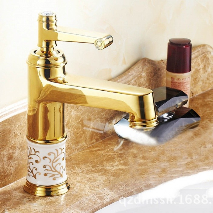 ZHAOYAO European Style Gold Basin Water Faucet with Hot�� Cold Water Supply for Bathroom