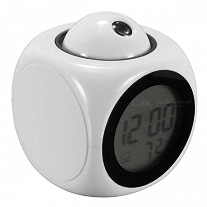 P-TOP 8.2*8.2cm Multifunctional Vibe LCD Talking Projection Alarm Clock with Time, Temperature Display - Whitedesk clock<br>Form  ColorWhiteMaterialABSQuantity1 setScreen TypeOthers,LEDBattery included or notYesPower SupplyAAABattery Number3Packing List1 x LCD Talking Alarm Clock<br>