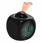 P-TOP 8.2*8.2cm Multifunctional Vibe LCD Talking Projection Alarm Clock with Time, Temperature Display  - Black