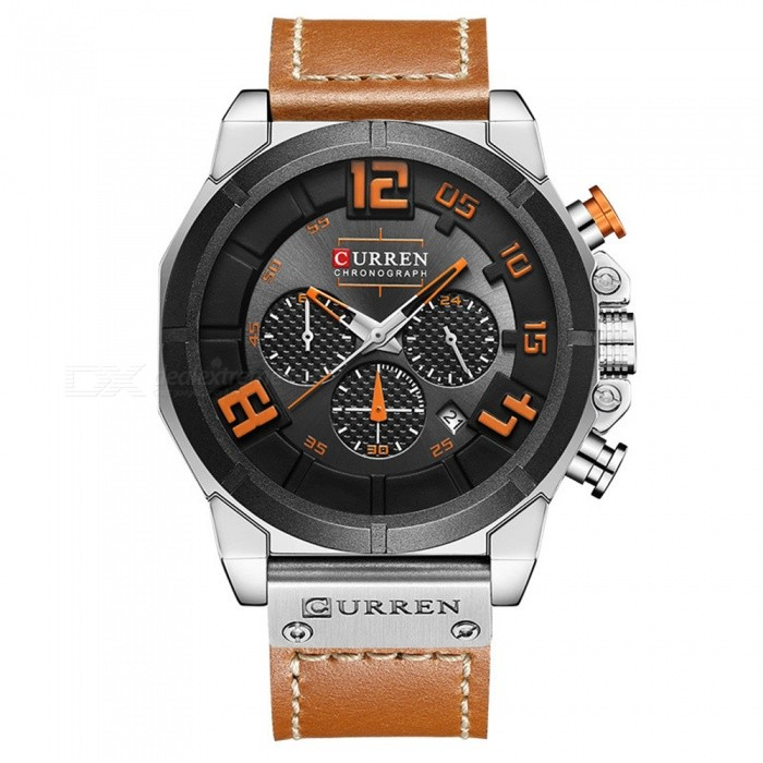 CURREN 8287 Men's PU Leather Band Water Resistant Quartz Wrist Watch - Silver