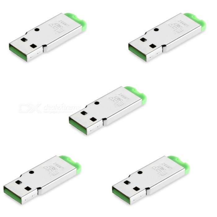 5-Piece USB Mini SD Card Reader - GreenCard Readers<br>Form  ColorGreenQuantity5 DX.PCM.Model.AttributeModel.UnitShade Of ColorGreenMaterialABSInterfaceUSB 2.0Supports Card TypeTFMax. Memory Supported128GBSlot Number1Support card quantity simultaneously1Transmission Rate480 DX.PCM.Model.AttributeModel.UnitIndicator LightNoSupports SystemWin xp,Win 2000,Win 2008Packing List5 x Card readers<br>