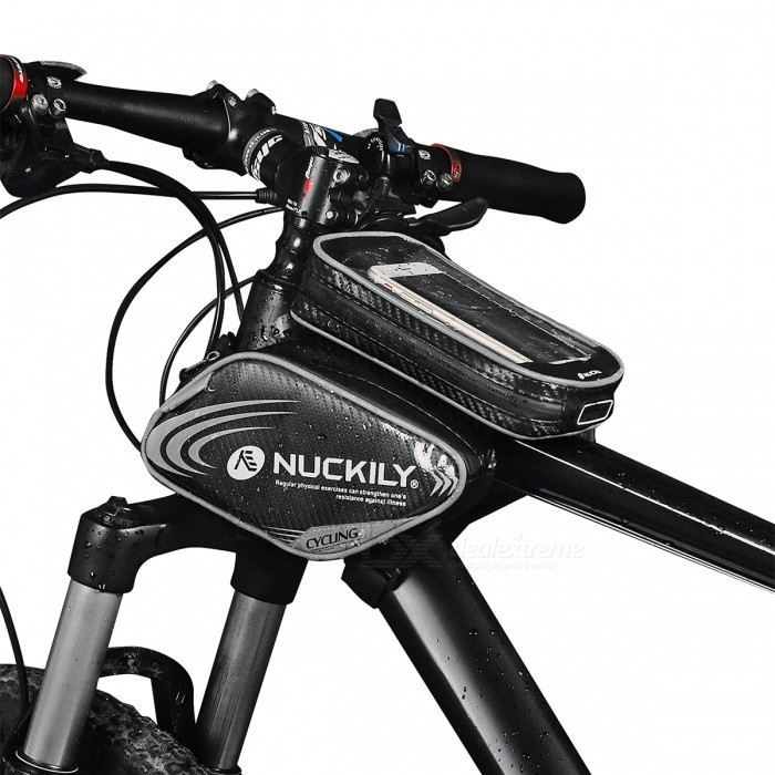 NUCKILY PL05/Grey+XL Waterproof Touch Screen Bicycle Saddle Bag for Upper Pipe - Grey (XL)