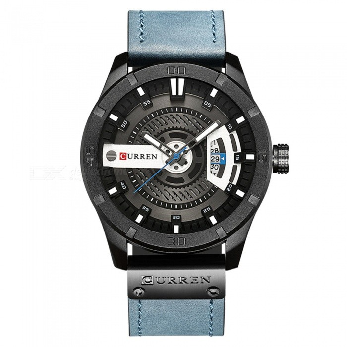 CURREN 8301 Men's PU Leather Water Resistant Quartz Wrist Watch with Date Display - Blue