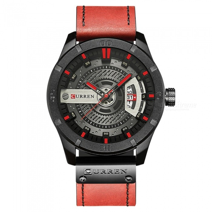 CURREN 8301 Mens PU Leather Water Resistant Quartz Wrist Watch with Date Display - RedQuartz Watches<br>Form  ColorRedModel8301Quantity1 DX.PCM.Model.AttributeModel.UnitShade Of ColorRedCasing MaterialAlloyWristband MaterialPU LeatherSuitable forAdultsGenderUnisexStyleWrist WatchTypeFashion watchesDisplayAnalogBacklightnoMovementQuartzDisplay Format12 hour formatWater ResistantFor daily wear. Suitable for everyday use. Wearable while water is being splashed but not under any pressure.Dial Diameter5 DX.PCM.Model.AttributeModel.UnitDial Thickness1 DX.PCM.Model.AttributeModel.UnitWristband Length27.5 DX.PCM.Model.AttributeModel.UnitBand Width2.3 DX.PCM.Model.AttributeModel.UnitBattery626Packing List1 x Watch<br>