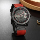 CURREN 8301 Men's PU Leather Water Resistant Quartz Wrist Watch with Date Display - Red