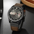 CURREN 8301 Men's PU Leather Water Resistant Quartz Wrist Watch with Date Display - Dark Brown