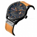 CURREN 8301 Men's PU Leather Water Resistant Quartz Wrist Watch with Date Display - Black