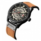 CURREN 8301 Men's PU Leather Water Resistant Quartz Wrist Watch with Date Display - Brown + Black